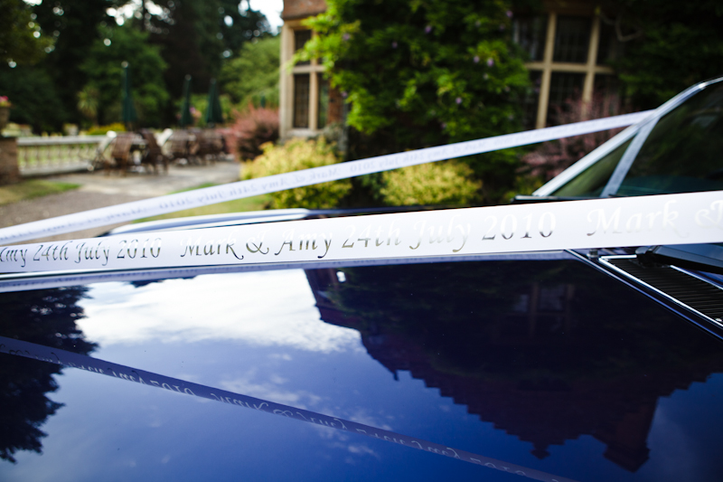 Personalised  ribbons on Wedding car