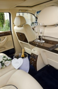 Champagne in the Wedding car